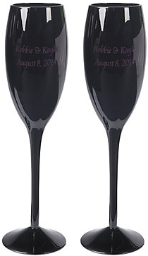 Personalized Black Wedding Flutes - Oriental Trading