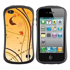Pulsar iFace Series Tpu silicona Carcasa Funda Case para Apple iPhone 4 / iPhone 4S , Fond d'écran Nature Feuilles d'automne jaune