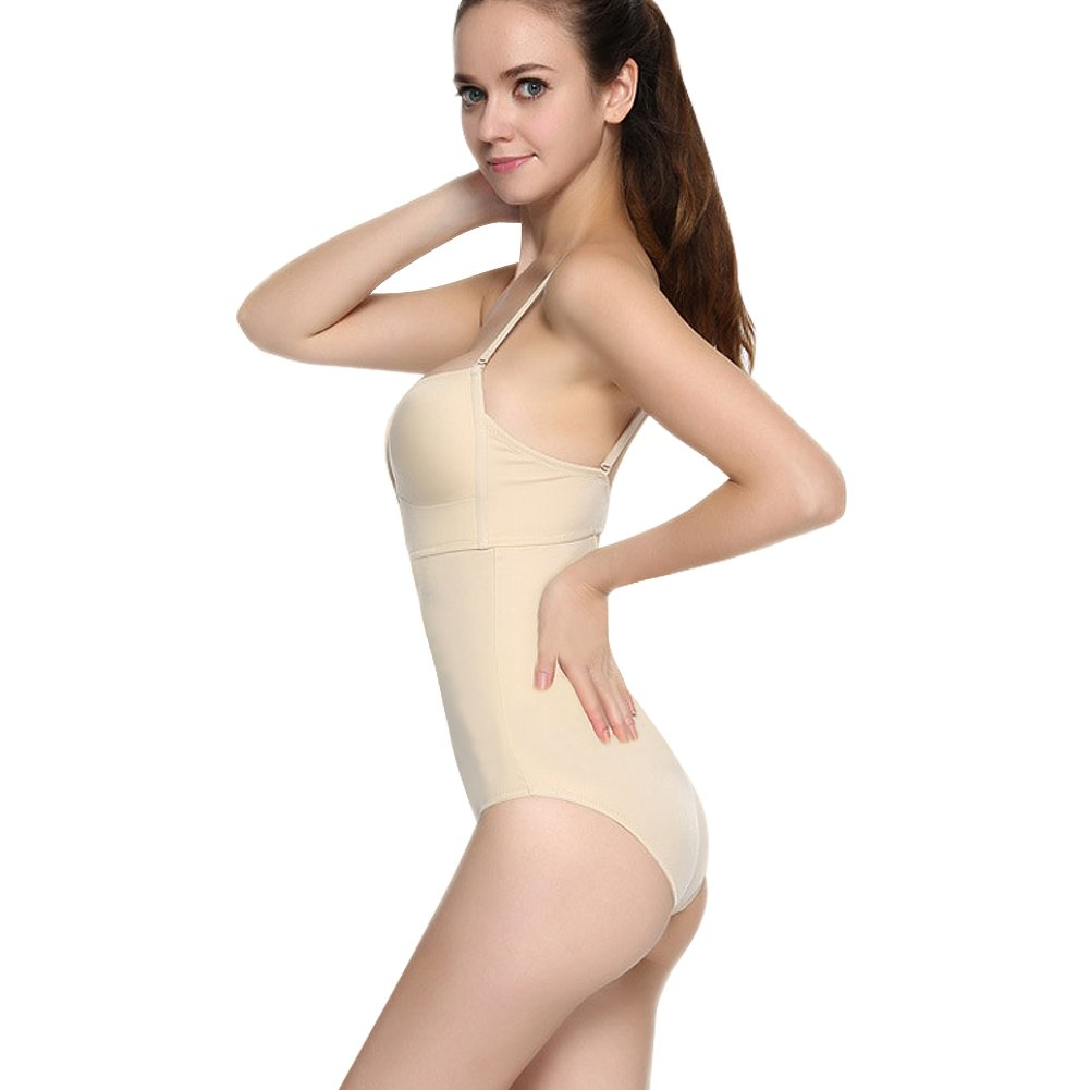 YOUCOO Womens Plunging V-Neck Clear Straps Backless Lace Bodysuit