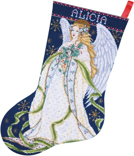 Tobin 14 Count Holly Angel Stocking Counted Cross Stitch Kit, 17-Inch Long