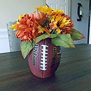 Football Vase Centerpiece with Artificial Fall Flower Arrangement for Home Table Decor Party Decorations, Coach or Football Lover Gift, Multicolored, Handmade, 13 Inches