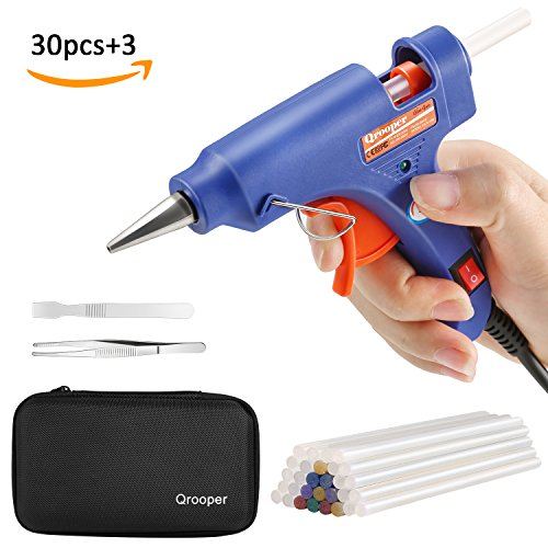 Hot Glue Gun with 30pcs Glittery Glue Sticks and Accesorries High Temperature Melting Glue Gun Kit with Storage Case for Home & Office DIY Craft Projects, Sealing & Repairs (20Watt Blue) Review.