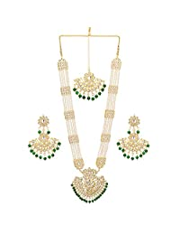 Jwellmart Indian Traditional Gold Plated Kundan Faux Pearl Rani Haar Necklace Set for Women and Girls