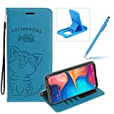 Strap Leather Case for Galaxy A70,Blue Wallet Flip Case for Galaxy A70,Herzzer Elegant Classic Solid Color Magnetic Cute Fish Cat Printed Stand PU Leather Case with Soft TPU