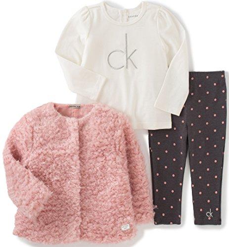 Calvin Klein Little Girls' Toddler 3 Piece Faux Fur Jacket