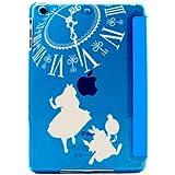 Apple iPad mini4 専用 スマートカバー 一体型 薄型 シェルケースアリス×ラビット (B)BIG時計 ホワイト [ブルー]