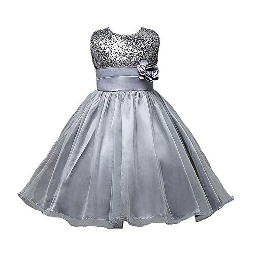 M2C Little Girls Sequin Flower Wedding Dress Ball Gown Party Girl Dresses, 7, Gray