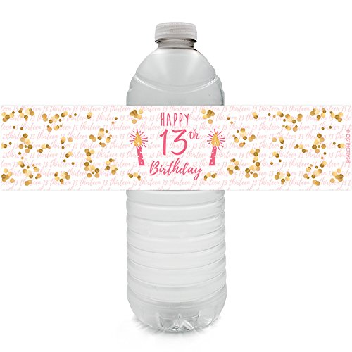 Girls 13th Birthday Party Water Bottle Labels, Pink and Gold (24 Stickers)