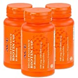 3-Pack of High Potency Biotin USP (D-Biotin) 100mg (100,000mcg)