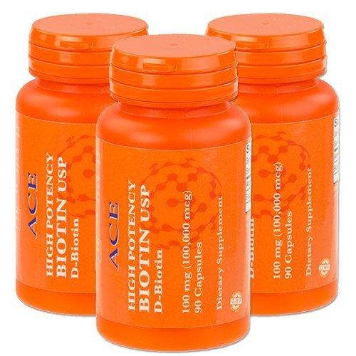 3-Pack of High Potency Biotin USP (D-Biotin) 100mg (100,000mcg) by ACE SP&C