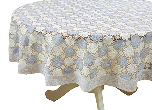 """Liberecoo PVC Floral Ivory Heavy Duty Fall Tablecloth with Wipeable Waterproof and Oil Proof Plastic Tablecloth Table Cover Vinyl Lace 70""""x70"""" Round(ZNR-014G)"""
