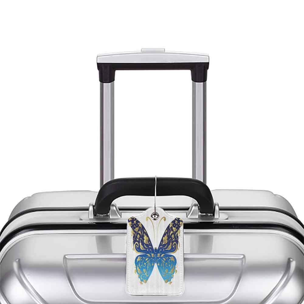 Personalized luggage tag Animal Blue Butterfly Figure Embellished with Wavy Artistic Leaves Graphic Easy to carry Light Blue Dark Blue Gold W2.7 x L4.6