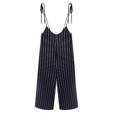 1c3b9b39a0cd TIMEMEANS Womens Jumpsuit Sexy Plus Size Print Striped Long Loose Bodysuit  Black