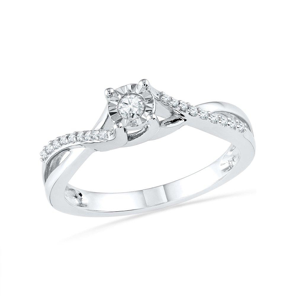 10KT White Gold Round Diamond Promise Ring (1/6 CTTW)
