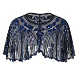 PrettyGuide Women's 1920s Shawl Beaded Sequin Deco Cape Bolero Flapper Cover up Black Blue