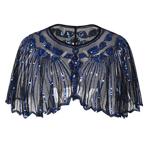 1920s Shawl Beaded Sequin Deco Cape Bolero Flapper Cover Up Black Blue ()