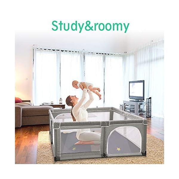 Box per bambini, box XL, centro di attività per bambini, interno ed esterno, con base antiscivolo, griglia di protezione… 3 spesavip