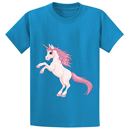 mcol-unicorn-rose-child-crew-neck-cotton-t-shirts-blue