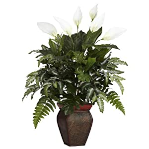 Nearly Natural 6677 Mixed Greens with Spathiphyllum and Vase Decorative Silk Plant, Green 13