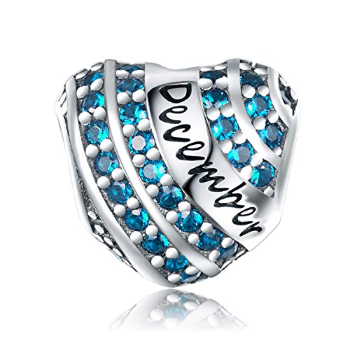 (XOYOYZU Birthstone Charm for Pandora Charms Bracelet 925 Sterling Silver Bead Openwork Birthday Charms for Bracelet and Necklace (December))