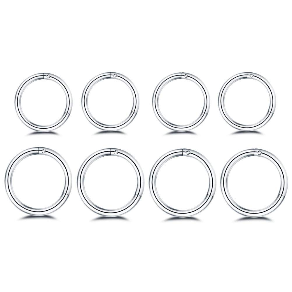 NewZenro 8Pcs Surgical Stainless Steel 16G Sleeper Cartilage Daith Tiny Small Hoop Earrings Mini Septum Hinged Clicker Nose Ring Helix Tragus Piercings 8mm 10mm Set Silver