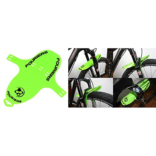 Fouriers Front Fork Fender Mud Guards MTB DH XC Rear Saddle Rail Mudguard (apple green, Front)