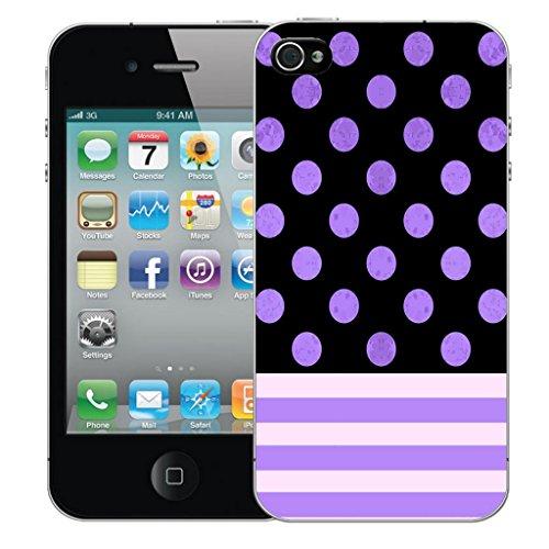 iphone 4 4s Dur Coque couverture Pare-chocs Case Cover - pourpre polka stripe conception par Mobile Case Mate
