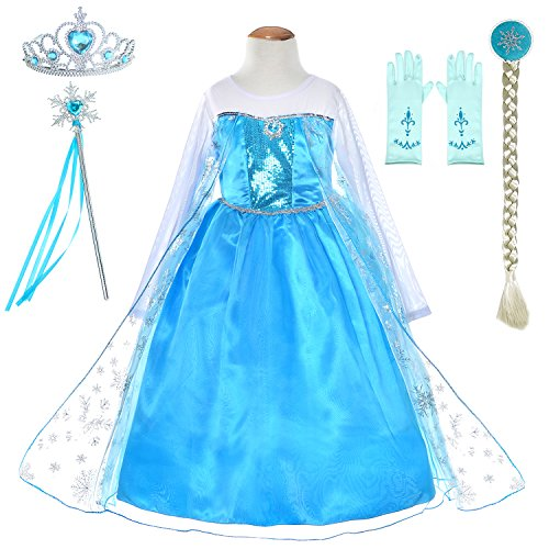Snow Queen Princess Elsa Costumes Birthday Party Dress Up For Little Girls with Wig,Crown,Mace,Gloves Accessories 8-10 Years(140cm)