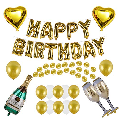 Kwayi Birthday Supplies. Gold Balloon Decoration Set With HAPPY BIRTHDAY Foil Balloon Large Champagne Balloons And Latex Balloons 48Pcs For Birthday Party Supplies