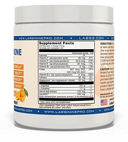 L-arginine Pro, #1 NOW L-arginine Supplement - 5,500mg of L-arginine PLUS 1,100mg L-Citrulline + Vitamins & Minerals for Cardio Health, Blood Pressure, Cholesterol, Energy (Berry & Orange, 4 Jars) by L-arginine Pro (Image #5)