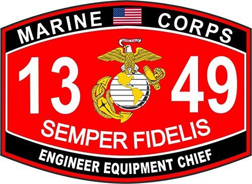 - Engineer Equipment Chief Marine Corps MOS 1349 USMC US Marine Corps Military Window Car Bumper Sticker Vinyl Decal 3.8