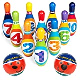 Best Choice Products Kids Sports Soft Lightweight Foam Bowling Toy Set w/ 10 Pins, 2 Balls, Carrying Case - Multicolor
