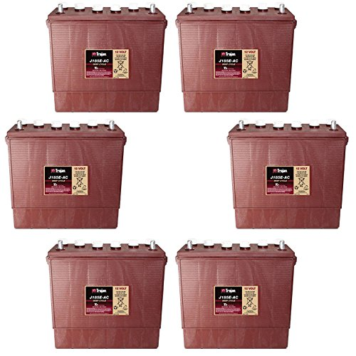 6x Trojan J185E-AC Flooded Lead Acid 12V Deep Cycle Battery 175Ah FAST USA (Deep Cycle 12v Ac Batteries)