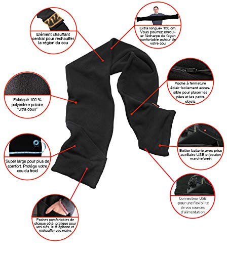 Écharpe chauffante à piles Warmawear  Amazon.fr  Jardin 495441bc533