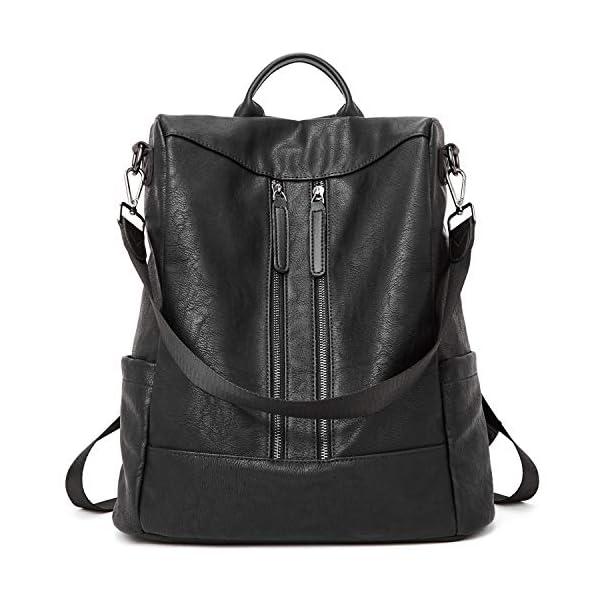 BROMEN Women Backpack Purse Leather Anti-theft Travel Backpack Fashion Shoulder Handbag 1