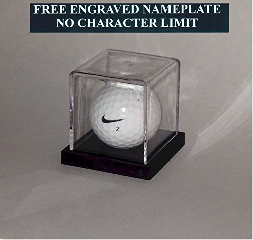 Golf Ball Personalized Hole in One Acrylic Display Case - Holder Custom Black Base - Free Laser Engraved Name Plate (Display Ball Golf Single)
