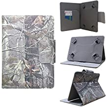 """ezCASE - Kindle Fire / Fire HD Autumn Camo Universal Folio Faux Leather Protector Case Cover for 7"""" inch Tablets, Multi-angle Stand, Card, Cash, Passport Slots - Fits most Tablets"""