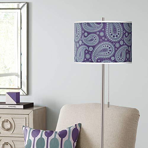 (Purple Paisley Linen Brushed Nickel Floor Lamp - Giclee Glow)
