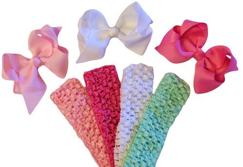 Baby and Toddler Girls Boutique Olivia Bow Mix and Match Crochet Headband Gift Set (Hot Pink / Light Pink / White)