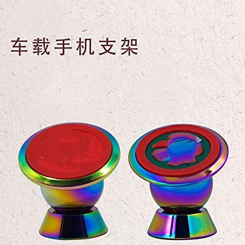 ギフトカラフルな携帯電話ブラケット金属車磁気吸引携帯電話タブレットユニバーサル360度回転ナビゲーションブラケット (Color : A)