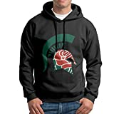 FUOALF Mens Pullover Michigan State University Hooded Sweatshirt Black XXL