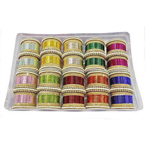 MUCH-MORE Glamorous Bollywood Fashion Indian Bangles Box Multi Color Party wear Bangles Jewelry (83, 2.8) by MUCH-MORE (Image #1)