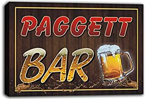 scw3-076624 PAGGETT Name Home Bar Pub Beer Mugs Cheers Stretched Canvas Print Sign