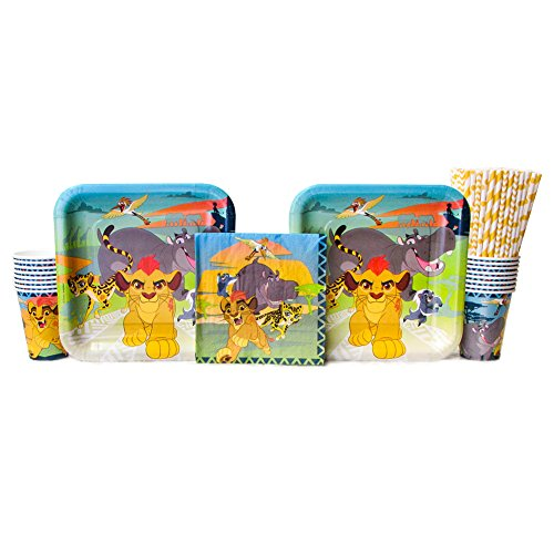 Disney The Lion Guard Party Pack for 16 Guests: Straws, Dinner Plates, Luncheon Napkins, and Cups