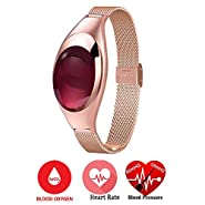 Relee Smart Wrist Bracelet Fitness Tracker Heart Rate Blood Oxygen Pressure Monitor Wirless Jewelry Diamond Sport Activity Wristband Watch for Pedometer Women Ios Android Smartphone