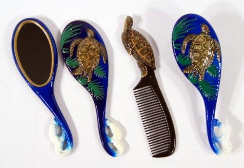 Handpainted Brown Sea Turtle Hair Brush Mirror Comb Set (set of 3)