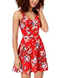 Trixxi Juniors' Strappy-Back Fit & Flare Dress (Red Print, S)