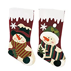 """Seatopia 2 Pack 17""""Christmas Stockings Cute Santa & Snowman 3D Applique for Holiday Decorations and Gift Holder"""