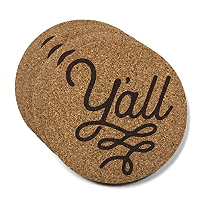 Y'all Texas Coaster Set Cork 3.5 Inch Coasters - 4 Texas Coasters for Drinks