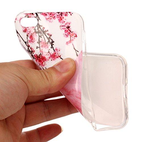 iPhone 5C Coque,Marbre aux prunes Premium Gel TPU Souple Silicone Clair Bumper Protection Housse Arrière Étui Pour Apple iPhone 5C + Deux cadeau